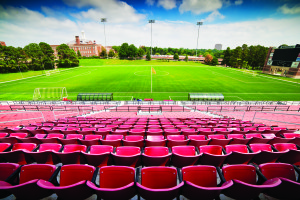 Caniglia Field was given a two-star rating by FIFA, the highest awarded by the federation. It also includes the biggest jumbotron in Division I soccer.