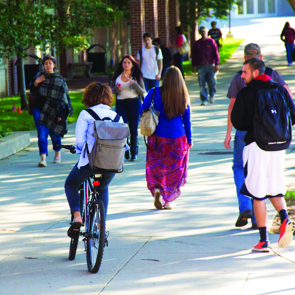 Photo by Evan Ludes/ The Gateway Students dodge wheeled menaces on their way to class