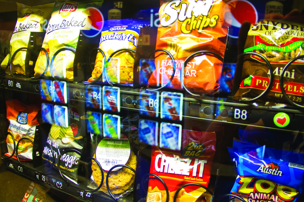 Photo by Evan Ludes/ The Gateway Machine shows a variety of snack items. Most machines carry the required chips - but not all are the same