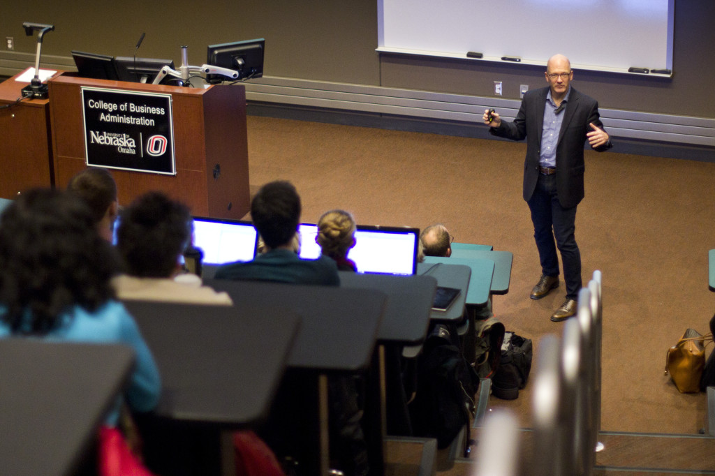 Photo by Evan Ludes/ The Gateway Scott Carpenter, the director of Google Ideas, spoke at Mammel Hall about internet security across the globe