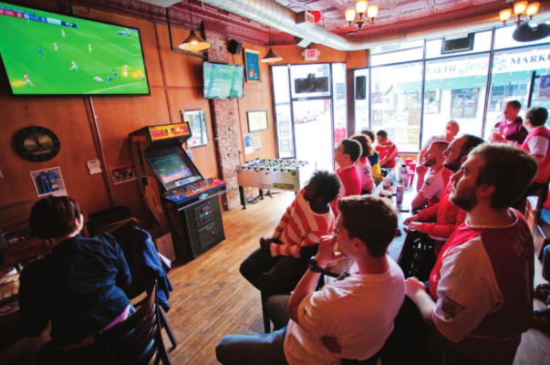 Photo by Evan Ludes/ The Gateway Fans gather at St. Andrews to watch European soccer games