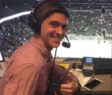 One of Avery Wenck's first times calling play-by-play was during the game against WMU. Photos by Evan Ludes/ The Gateway