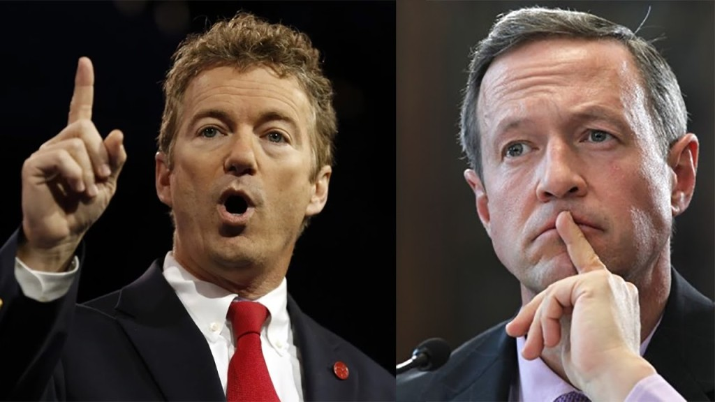 Rand Paul and Martin O' Malley.  Photo Courtesy of youtube.com