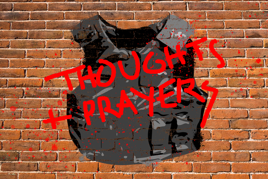 A graphic of a bullet proof vest against a brick wall, with the words thoughts and prayers spray painted across.