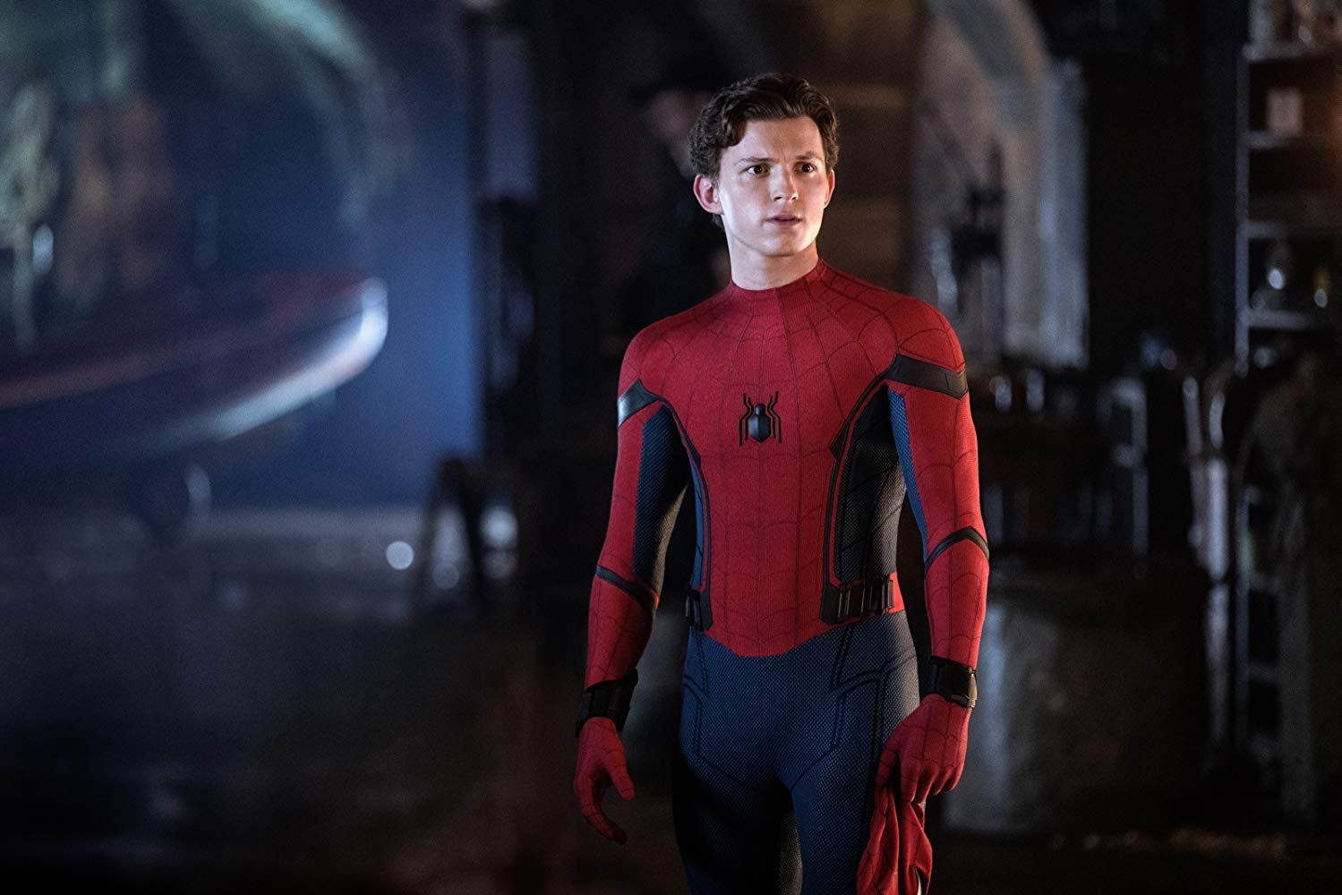 """The super hero Spider man from the film """"Spider-Man: Far From Home."""""""
