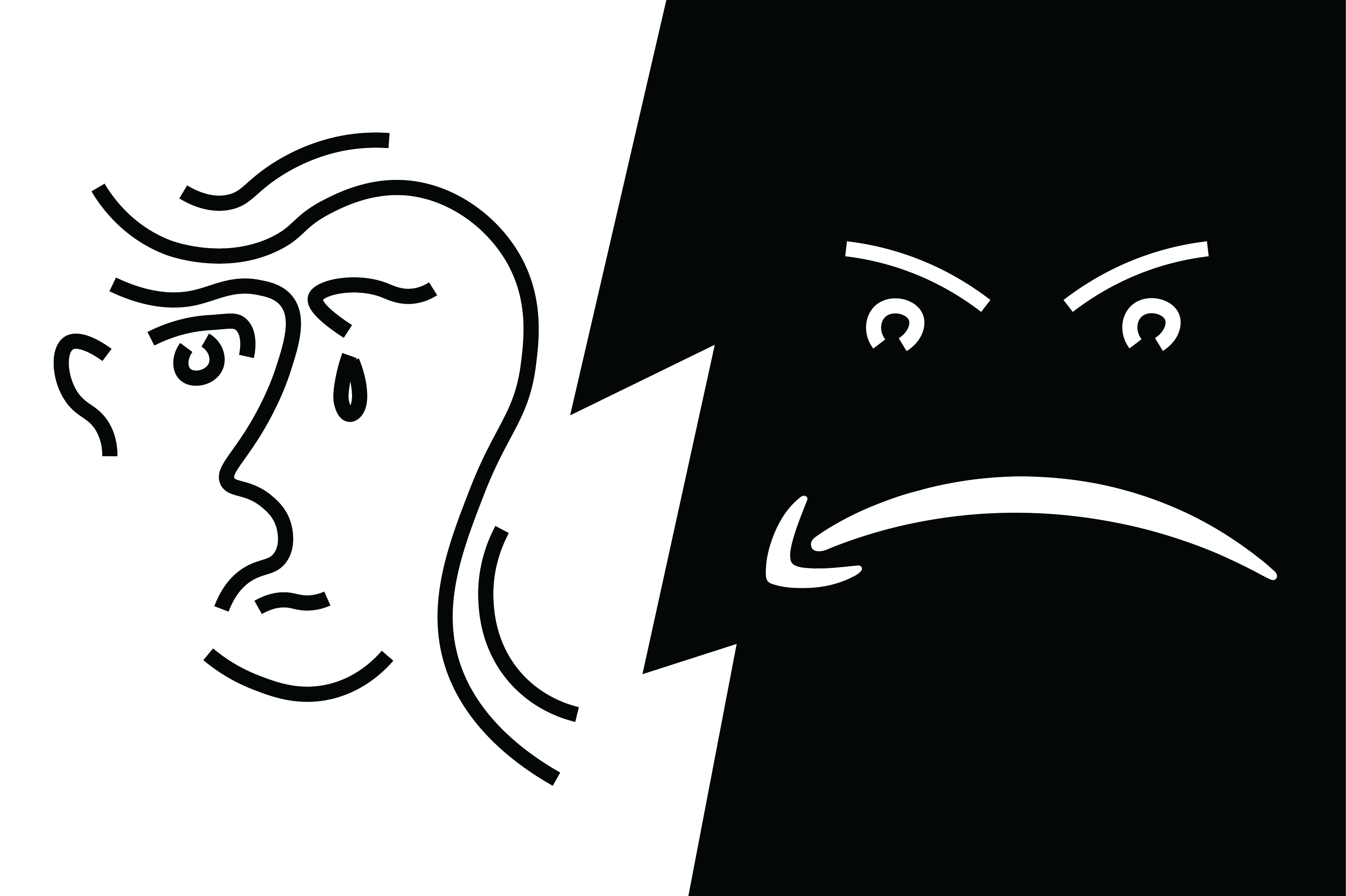 "The image is a play on the Amazon ""smiley face"" logo, instead featuring a frowning face. Another face looks sad on the other side of the image."