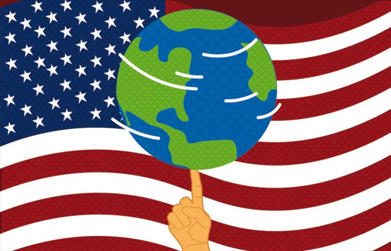 An illustration of the globe spinning on someone's finger like a basketball. The American flag is in the background.