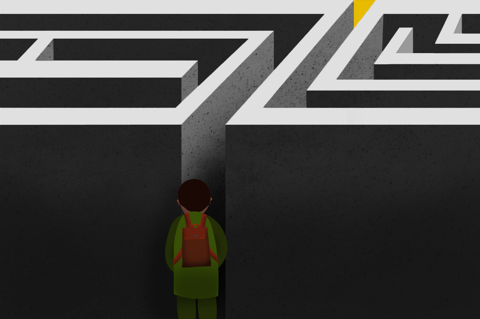 A person is standing at the edge of a maze with no visible exit.