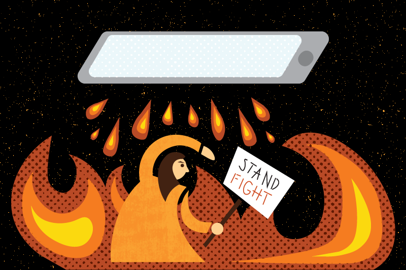 An illustration of a person who is trying to hide from a giant cell phone above them.