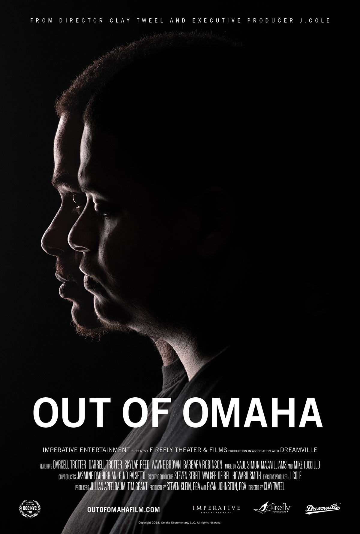"A film poster for ""Out of ""Omaha."" The film follows twin brothers Darcell and Darrell Trotter, who are pictured on the poster."