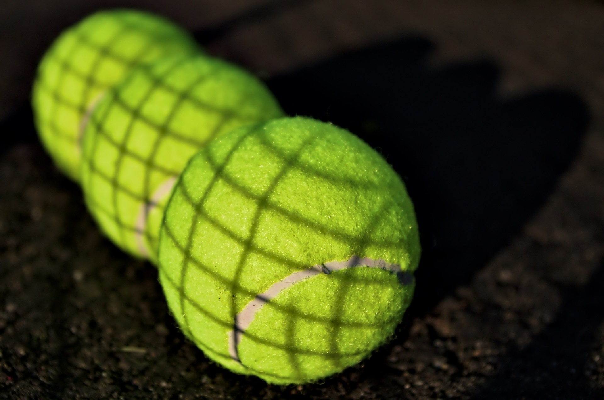 Tennis balls on the ground