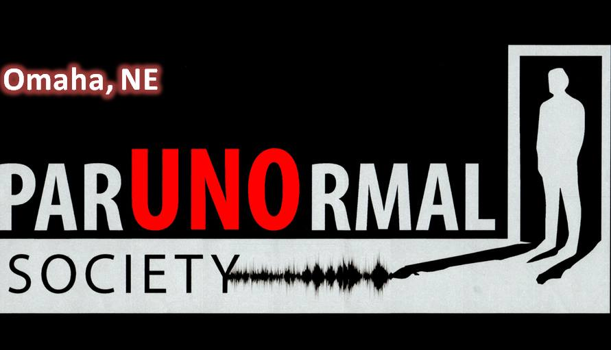 A logo for the UNO Paranormal Society in which the silhouette of a man is standing in a door way.