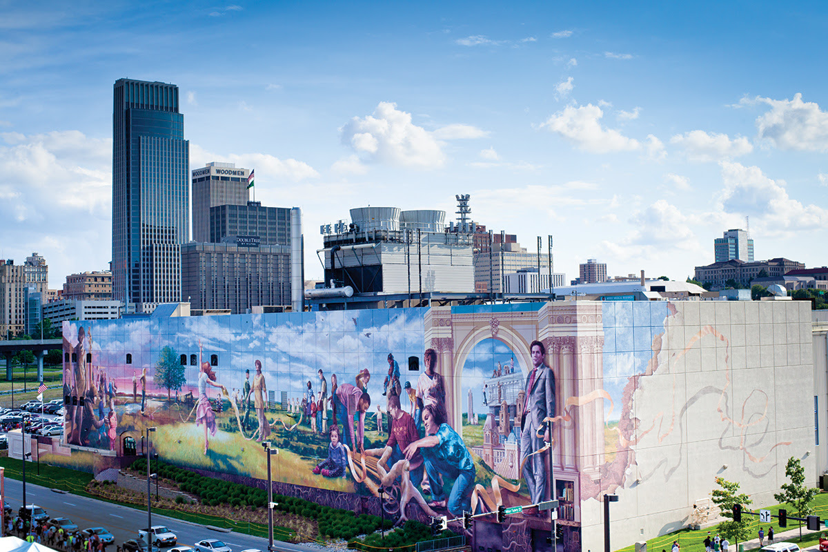An image of a mural on the side of a building