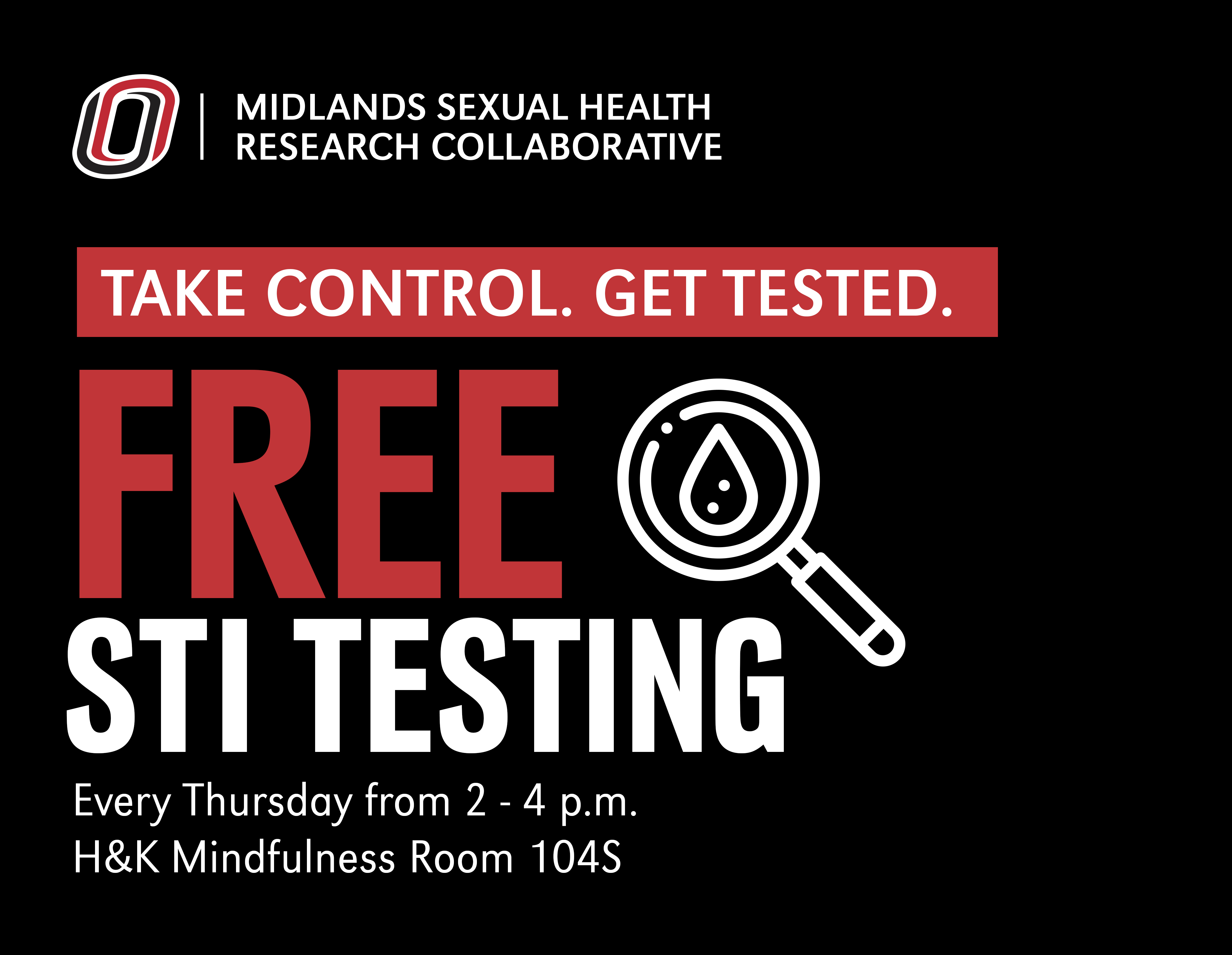 An advertisement for free STI testing at UNO