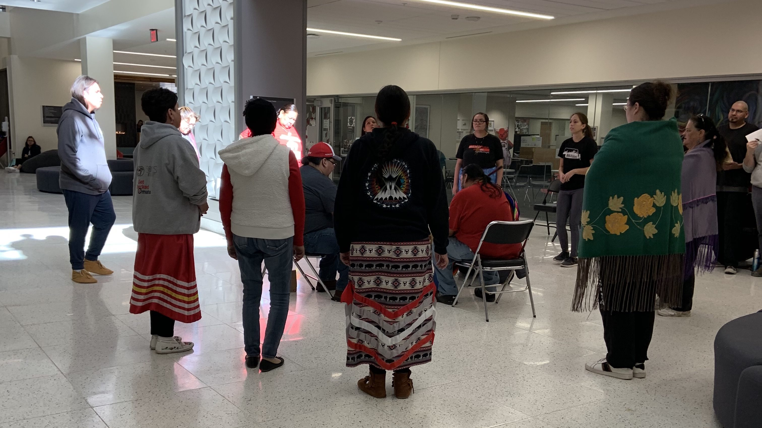 Members of the ITSC perform a traditional dance in Milo Bail Student Center.