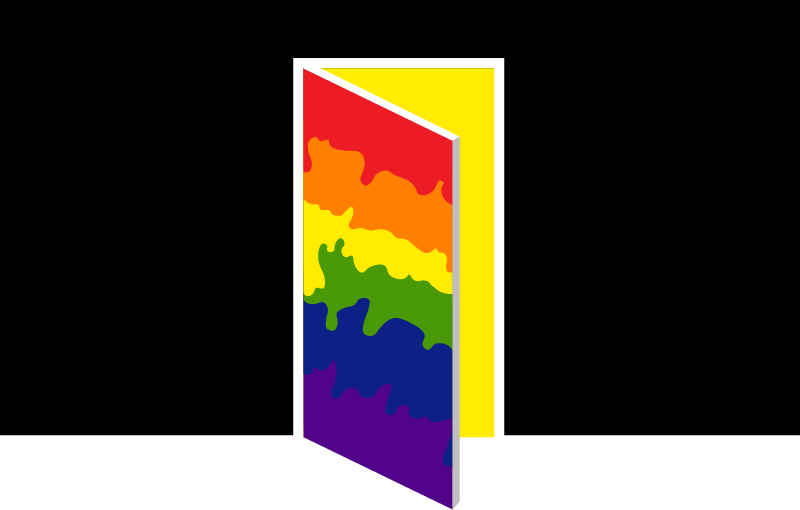 A multi-colored door is openly slightly against a black background.