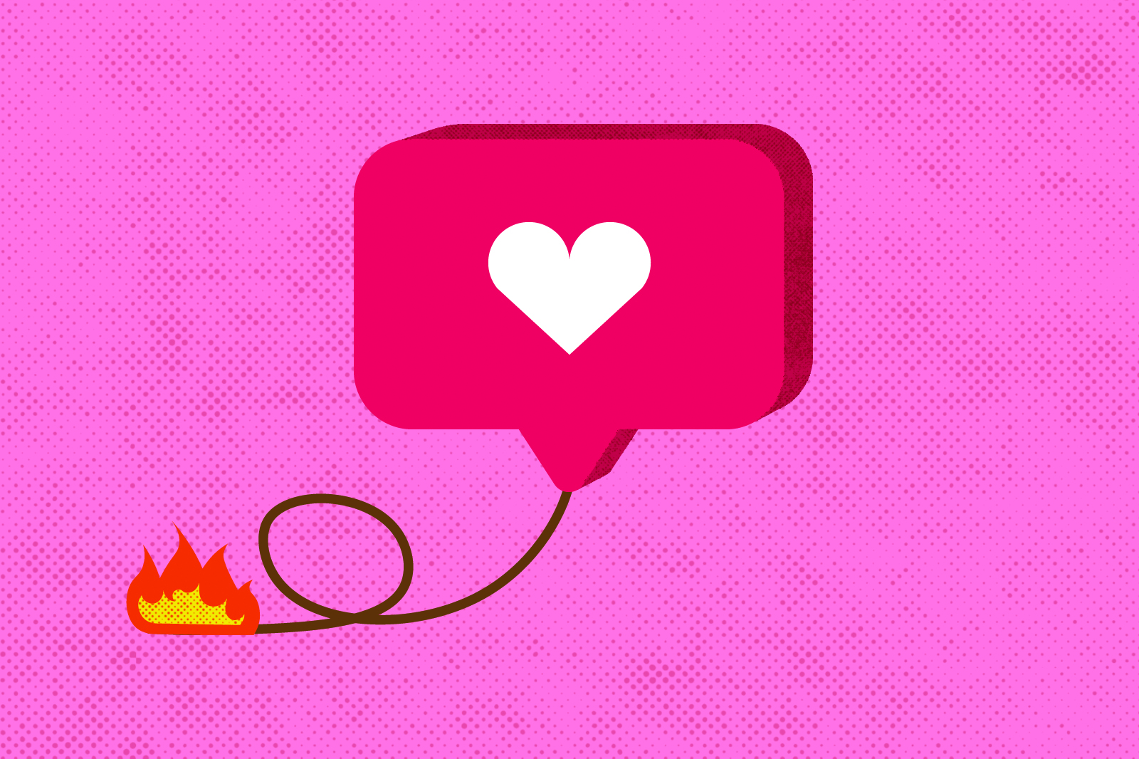 A graphic of an instagram like being burned