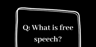 "Black background with a speech bubble. In white words, ""what is free speech?"""