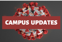"""Text in white """"Campus Updates"""" with a red banner behind it. The picture behind the words is a COVID-19 virus."""